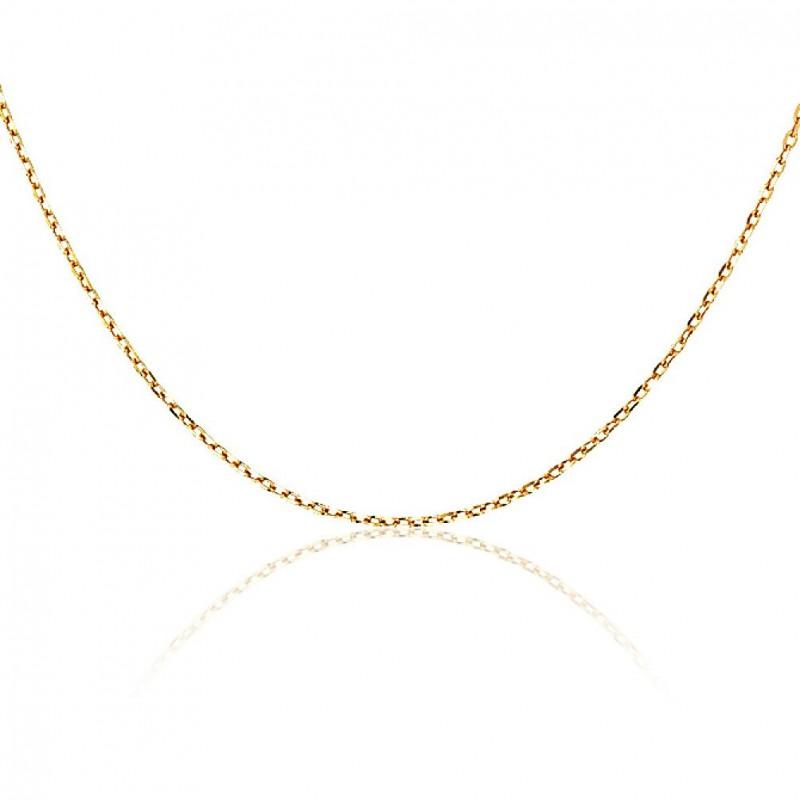 Sautoir chaîne longue plaqué or 80 cm maille forçat