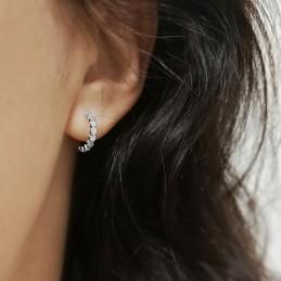 Boucles d'oreilles mini créoles argent zirconium