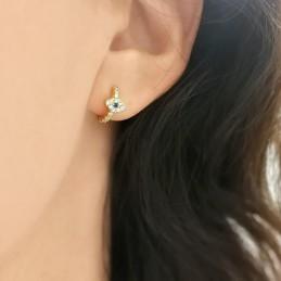 Boucles d'oreilles mini créoles Evil eye argent doré zirconium