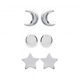 Boucles d'oreilles puces étoile, lune, demi-lune en argent