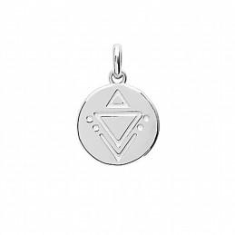 Pendentif médaille argent gravure géométrique