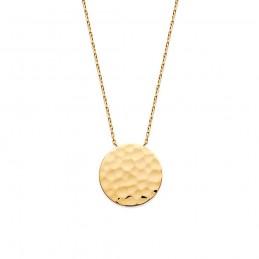 Collier plaqué or pendentif médaille martelée