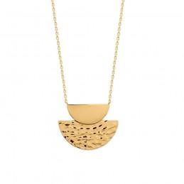 Collier plaqué or pendentif martelé