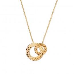Collier plaqué or deux anneaux entrelacés martelés