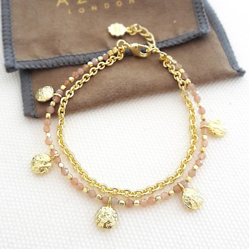 Bracelet double rang pierre de lune, plaqué or, Azuni