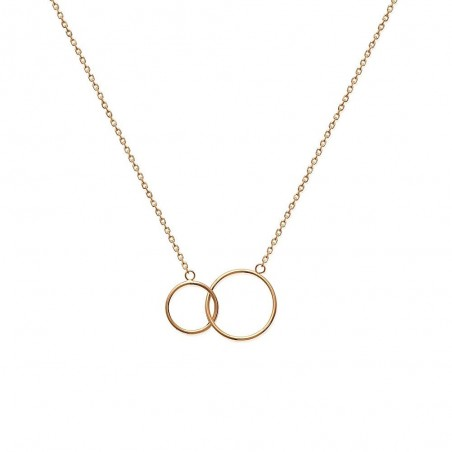 Collier deux anneaux entrelacés plaqué or