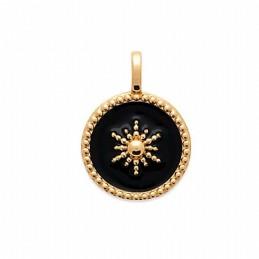 Pendentif médaille soleil noir plaqué or