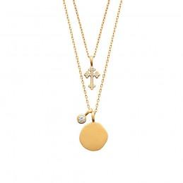 Collier plaqué or double rang médaille et croix zirconium