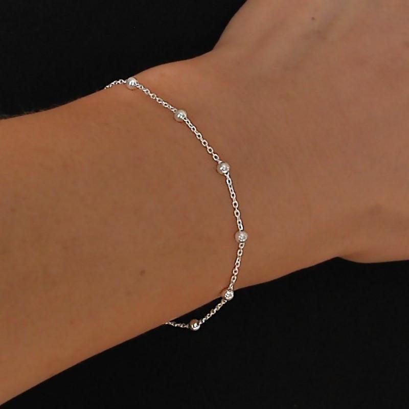 Bracelet argent chaîne perlée