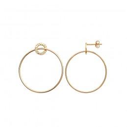 Boucles d'oreilles créoles plaqué or anneaux pendantes