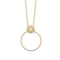 Collier plaqué or pendentif anneau