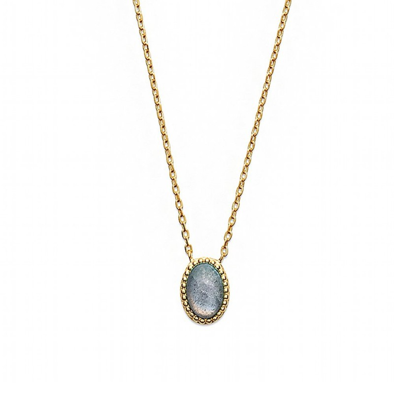 Collier plaqué or labradorite