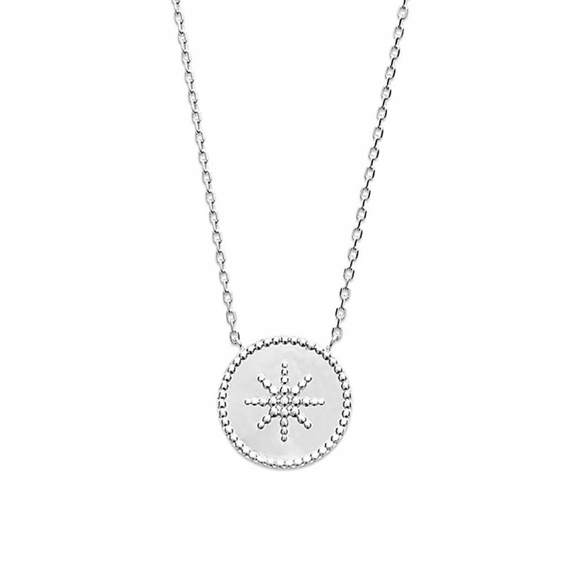 Collier argent médaille étoile perlée