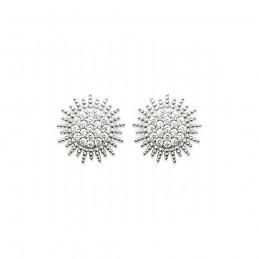 Boucles d'oreilles puces argent soleil micro-pavé zirconium