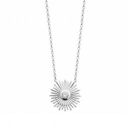 Collier argent pendentif soleil zirconium