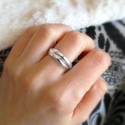 Bague argent trois anneaux intercalés