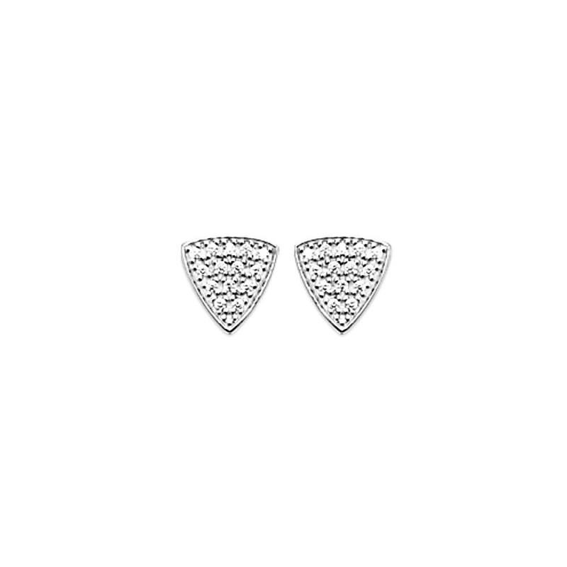 Boucles d'oreilles puces argent triangle zirconium