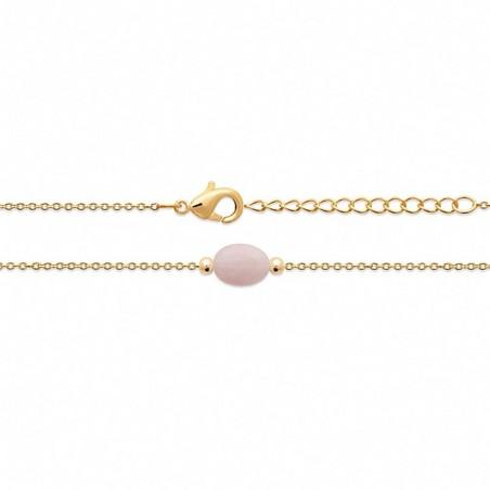 Bracelet fin plaqué or quartz rose