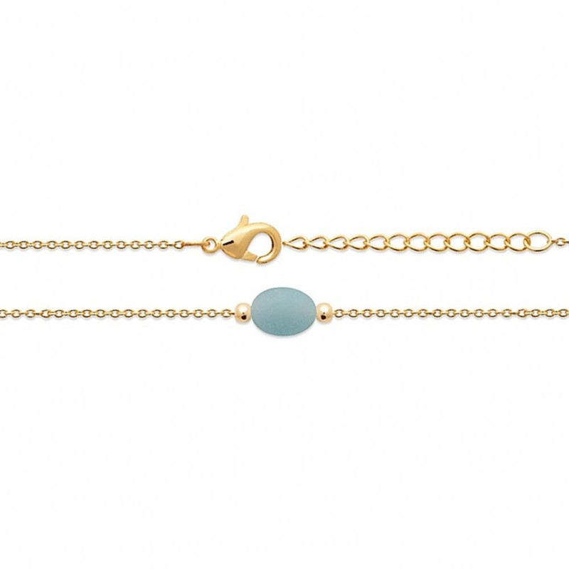 Bracelet fin plaqué or amazonite