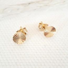Boucles d'oreilles puces rondes plaqué or motif ciselé