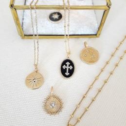 Pendentif médaille croix noire plaqué or