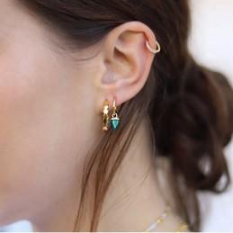 Boucles d'oreilles créoles avec pendentif pierre malachite