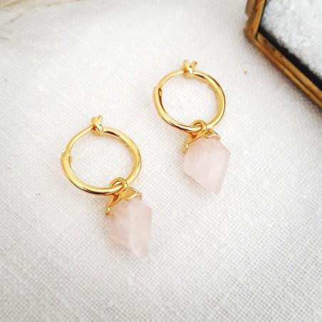 Boucles d'oreilles créoles avec pendentif pierre quartz rose