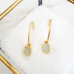 Boucles d'oreilles créoles avec pendentif pierre gemme chlorite