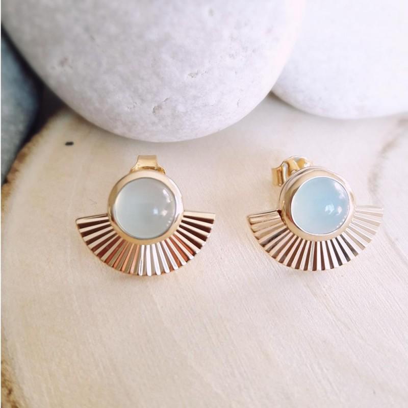 Boucles d'oreilles puces pierre gemme agate bleu plaqué or