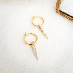 Boucles d'oreilles créoles avec pendentif pointes plaqué or