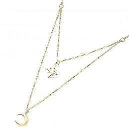 Collier étoile du nord et croissant de lune double rang plaqué or