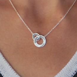 Collier argent deux anneaux entrelacés