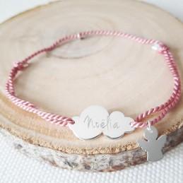 Bracelet personnalisé nuage argent cordon breloque ange