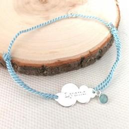 Bracelet personnalisé nuage argent cordon breloque pierre
