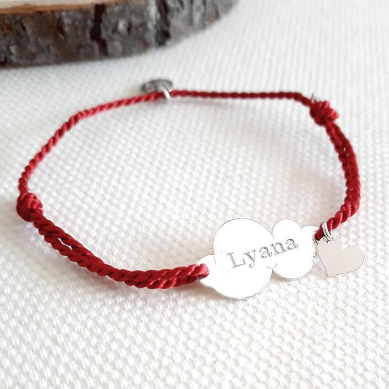 Bracelet personnalisé nuage gravé argent cordon breloque coeur