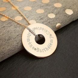 Pendentif personnalisé médaille gravée cible plaqué or 20 mm