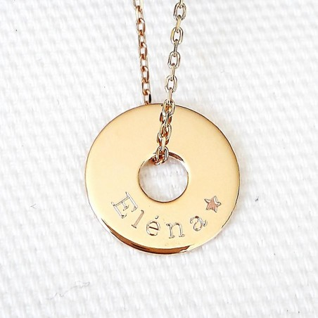 Pendentif personnalisé médaille gravée cible plaqué or 15 mm