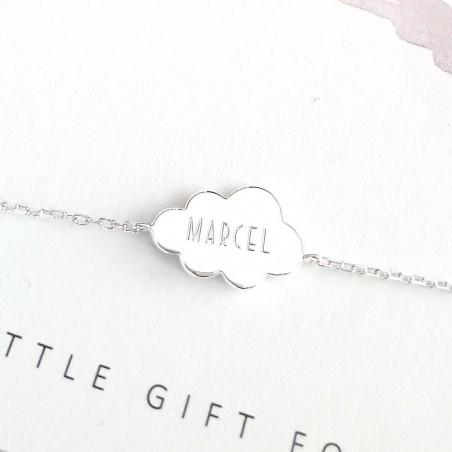Bracelet personnalisé nuage gravé argent