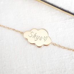 Bracelet personnalisé plaqué or nuage gravé