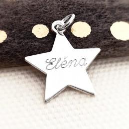 Pendentif personnalisé étoile gravée argent 19 mm