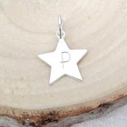 Pendentif personnalisé étoile gravée argent 13 mm