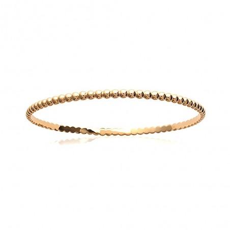 Bracelet jonc plaqué or finement perlé
