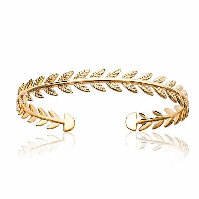 Bracelet jonc plaqué or feuilles