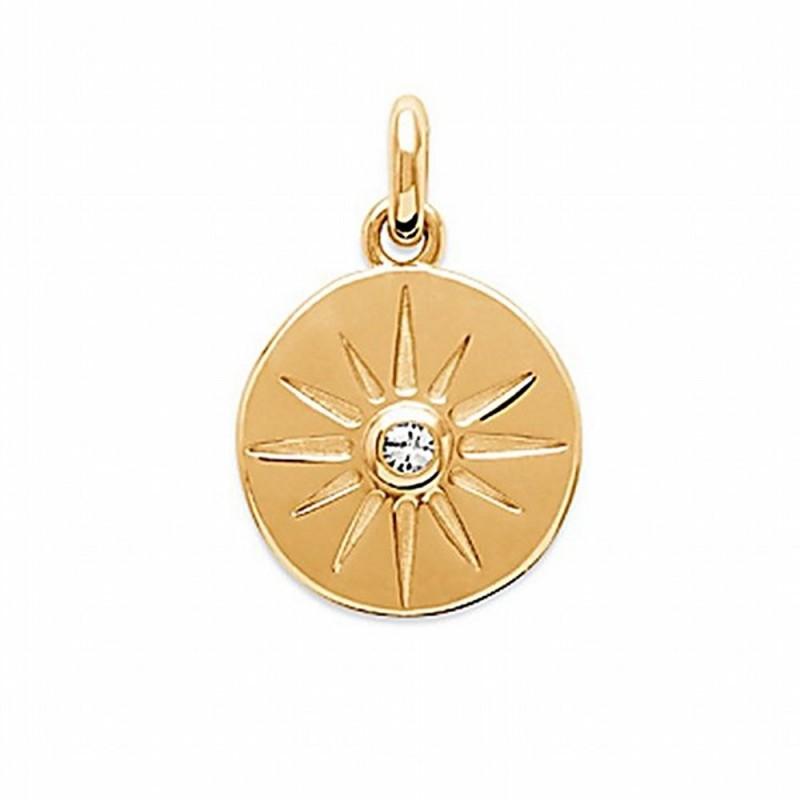 Pendentif médaille étoile plaqué or