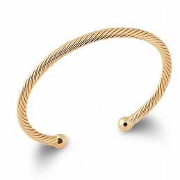 Bracelet jonc plaqué or torsadé