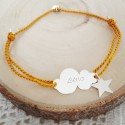 Bracelet personnalisé nuage argent cordon breloque étoile
