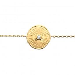 Bracelet fin plaqué or soleil