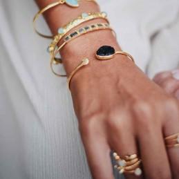 Bracelet jonc plaqué or pierre naturelle pierre de lune noire, Azuni