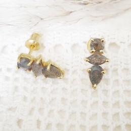 Boucles d'oreilles plaqué or pierre naturelle labradorite, Azuni