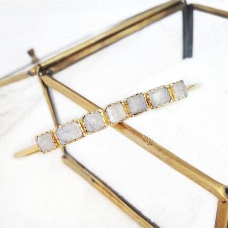 Bracelet jonc plaqué or pierre naturelle pierre de lune grise, Azuni